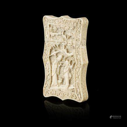 IVORY CARD CASEQING DYNASTY, 19TH CENTURY each side carved with a lady and a boy standing on a rocky