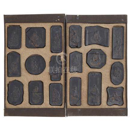 SET OF 'EIGHTEEN ARHATS' INK STICKSBY CAO SUGONG, QING DYNASTY comprising eighteen inkcakes in