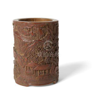 CARVED BAMBOO BRUSH POTQING DYNASTY, 19TH CENTURY elaborately carved with a village scene