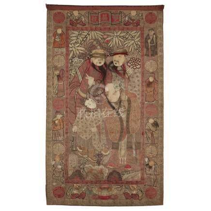 EMBROIDERED SILK 'THREE STAR GODS' PANELLATE QING DYNASTY embroidered with the Three Star Gods and a