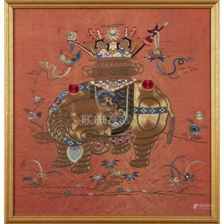 TWO EMBROIDERED RUST-GROUND SILK PANELSQING DYNASTY, 19TH CENTURY worked in couched-gilt and