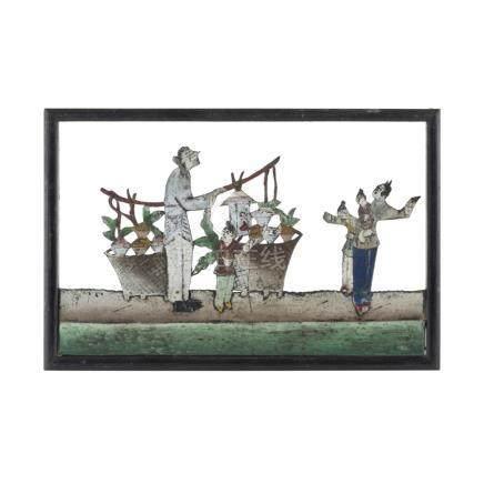 UNUSUAL SET OF FOUR TIN CUTOUTSREPUBLIC PERIOD depicting: boys performing a dragon dance, a man