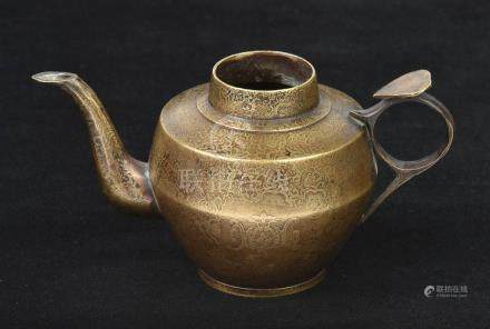 *Teapot. A fine 19th century Chinese bronze ceremonial teapot, beautifully decorated in gold with