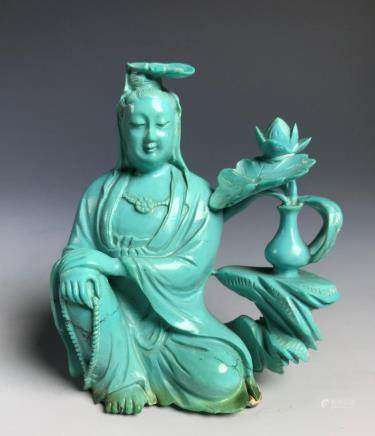 CARVED TURQUOISE FIGURE OF GUANYIN