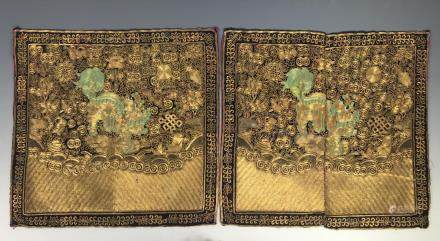 PAIR OF EMBROIDERED SILK RANK BADGES, TONGZHI