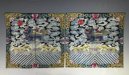 PAIR OF EMBROIDERED SILK RANK BADGES, GUANGXU