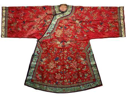 FINELY EMBROIDERED SILK RED-GROUND LADY'S ROBE