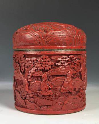 CINNABAR LACQUERED COVERED JAR
