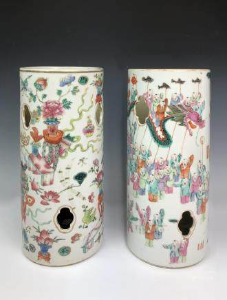 PAIR OF FAMILLE ROSE PORCELAIN  HAT STAND