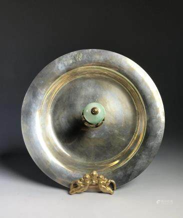 STERLING SILVER TRAY WITH CHINESE MANDARIN HAT KNOB