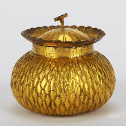 CHINESE GILT BRONZE COVER JAR