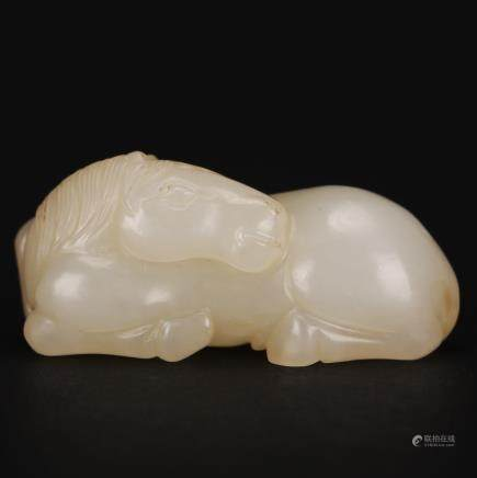 CHINESE WHITE JADE CARVED RECUMBENT HORSE