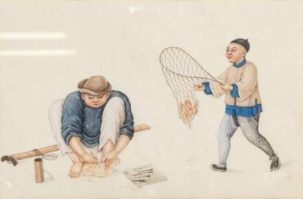 China Trade 19th C. Watercolour Oriental w/ COA
