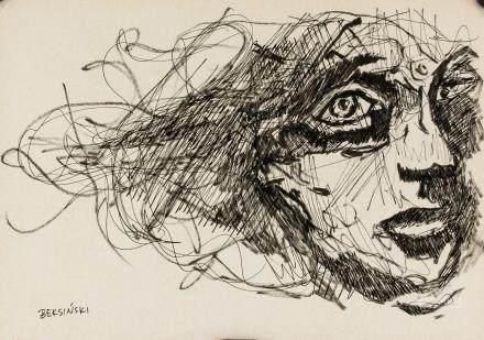Zdzislaw Beksinski Polish Surealist Ink on Paper