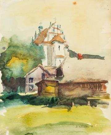 D. Konbider 1988 Watercolor on Paper Village Scene