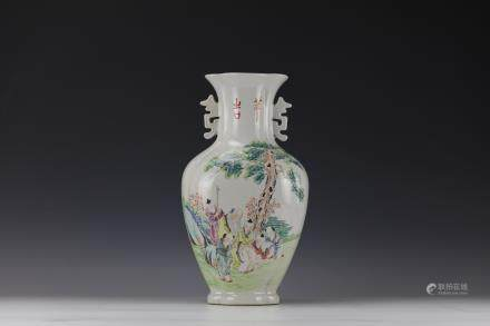 A Fine Famille Rose Porcelain Vase,by Xu Shanqin