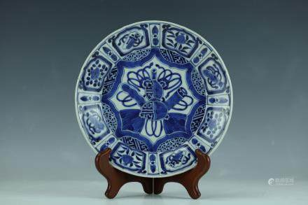 A Blue and White Porcelin Dish Ming Dynasty