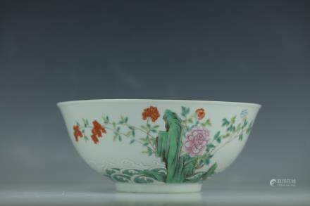 A Wang Heting Mark Famille Rose Porcelain Bowl