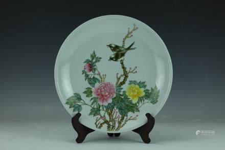 A Famille Rose Porcelain Peony Birds Big Plate