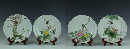 Four Season Famille Rose Porcelain Flower Birds Plates