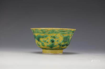 Yellow and Green Dragon Bowl Kangxi Mark and Period