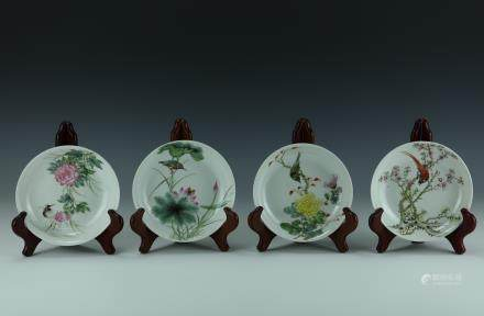 A Set of Famille Rose Porcelain Four Season Floral