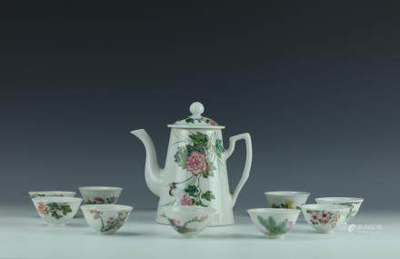 A Set of Famille Rose Porcelain Pot and Cups w Shelf