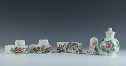 A Group of Famille Rose Porcelain Pots and Vase