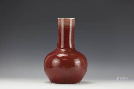 A COPPER-RED-GLAZED BOTTLE VASE Qing Dynasty