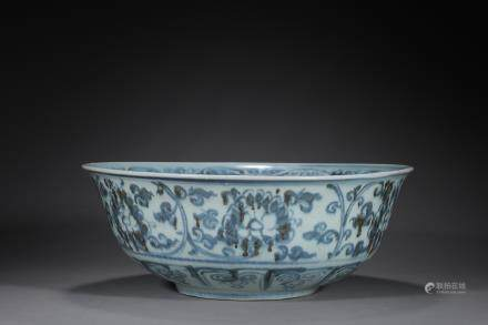 A Ming Dynasty Blue and White Lotus Scroll Big Bowl