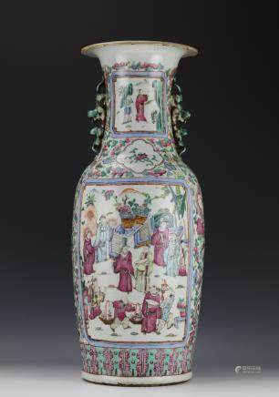 A Tongzhi Period Famille Rose Figue Vase