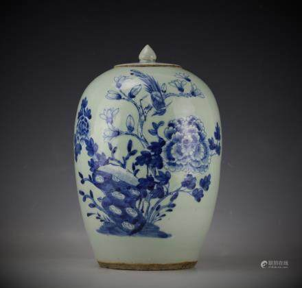 A Blue and White Porcelain Vase with Cover