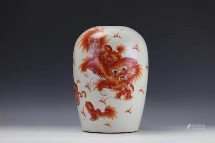 RED LIONS FAMILLE ROSE PORCELAIN Pot BY Zou Hesheng