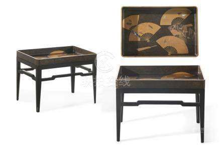 A pair of Japanese shell inlaid lacquered trays on stands 20