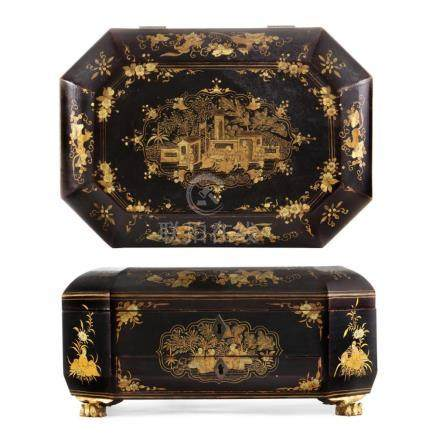 A Chinese Export lacquered work box late 19th century