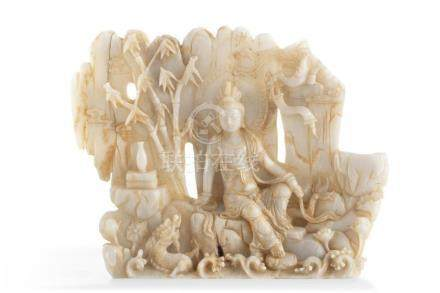 A Chinese carved jade panel 20th century