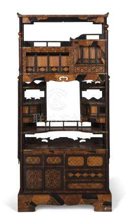 A good quality Japanese marquetry inlaid étagère cabinet ear