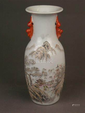 Small baluster vase with winter landscape in the manner of H