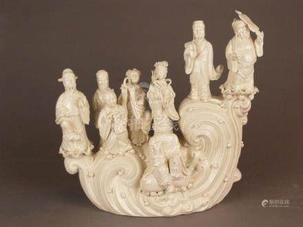 Blanc-de-Chine figure group ''The Eight Immortals'' - China,