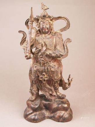 Bronze figure of the god Er-lang Shen - China, bronze with g