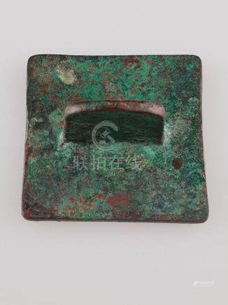Large bronze stamp - China, antique, plate with 4 characters
