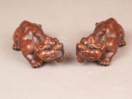 Pair of Chimeras / Bixie Figurines - China, fine wood carvin