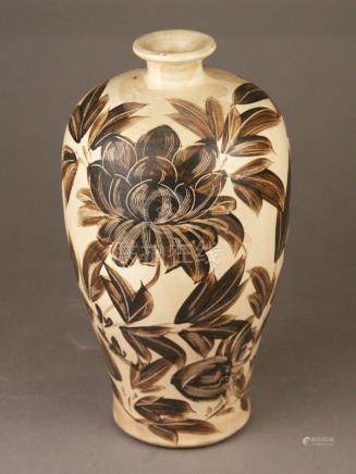 Meiping vase - China Cizhou style, stoneware with cream-colo