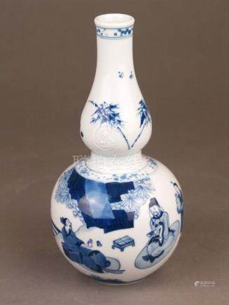 A blue and white double gourd porcelain vase - painted in in
