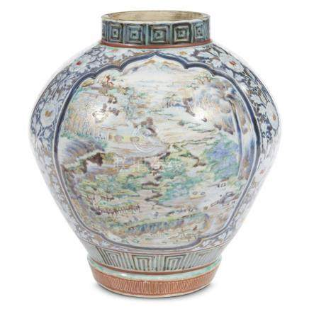 A rare Japanese enameled and gilt blue and white-decorated A