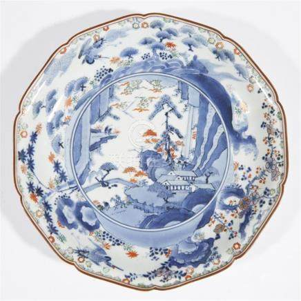 A Japanese enameled and parcel-gilt blue and white porcelain