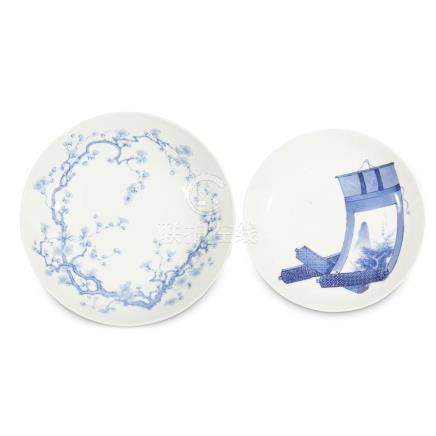 Two Japanese blue and white porcelain circular dishes, 19th
