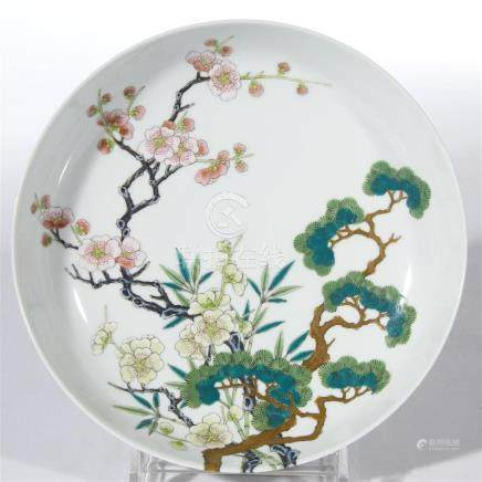 "A Japanese enameled porcelain ""Three Friends of Winter"" dish"
