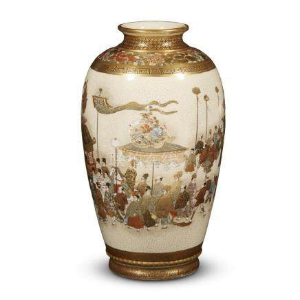 "A Japanese Satsuma-type enameled and gilt pottery ""Processio"