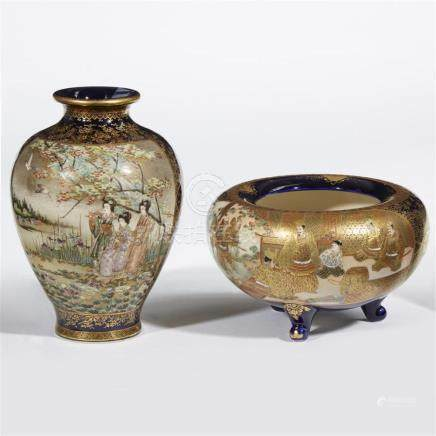 A Japanese Satsuma-type enameled and gilt pottery vase and a